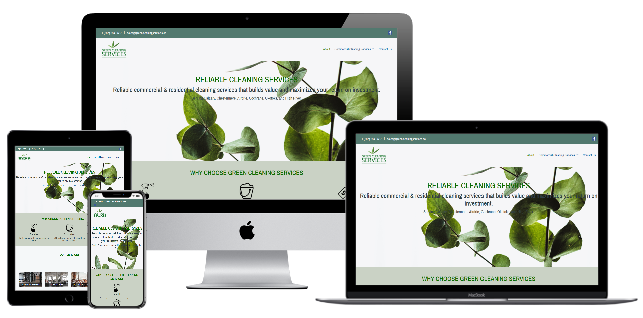 Calgary Web Design Example -Green Cleaning Services